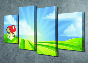 A rolling hills fields farm sunrise 4 Split Panel Canvas - Canvas Art Rocks - 2