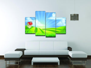 A rolling hills fields farm sunrise 4 Split Panel Canvas - Canvas Art Rocks - 3