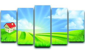 A rolling hills fields farm sunrise 5 Split Panel Canvas  - Canvas Art Rocks - 1