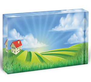 A rolling hills fields farm sunrise Acrylic Block - Canvas Art Rocks - 1