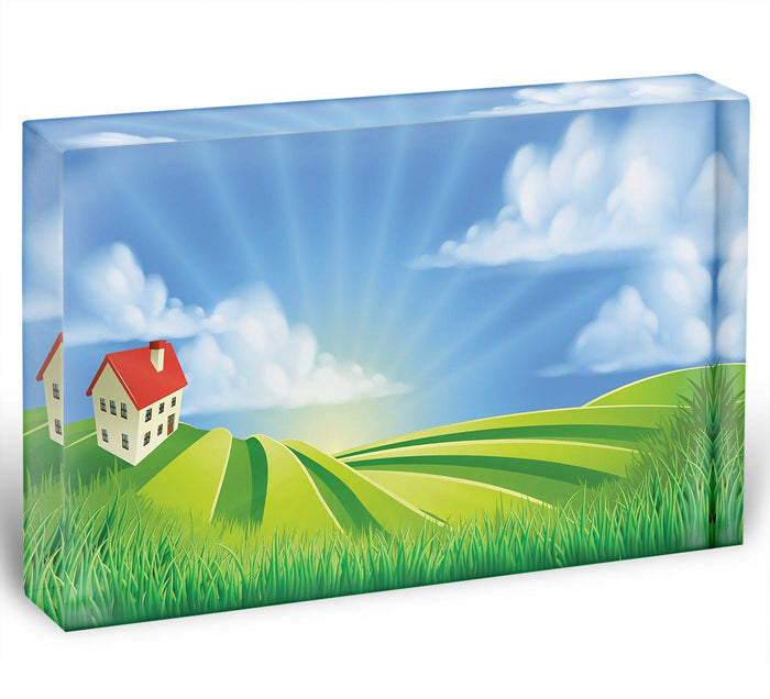A rolling hills fields farm sunrise Acrylic Block