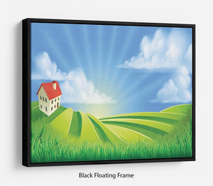 A rolling hills fields farm sunrise Floating Frame Canvas