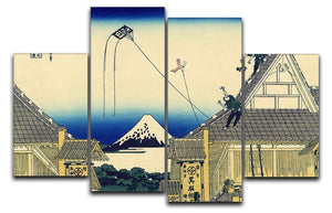 A sketch of the Mitsui shop by Hokusai 4 Split Panel Canvas  - Canvas Art Rocks - 1