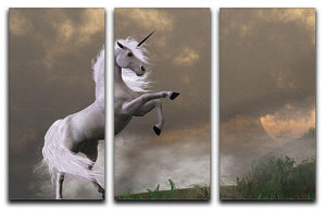 A unicorn stag asserts its power 3 Split Panel Canvas Print - Canvas Art Rocks - 1