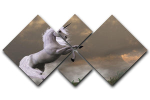 A unicorn stag asserts its power 4 Square Multi Panel Canvas  - Canvas Art Rocks - 1