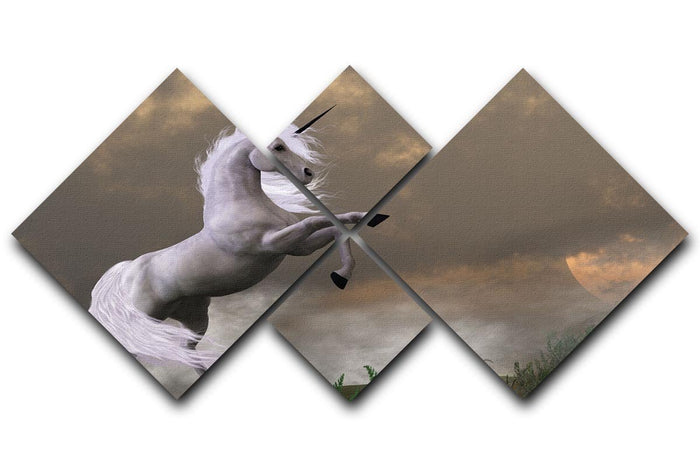 A unicorn stag asserts its power 4 Square Multi Panel Canvas