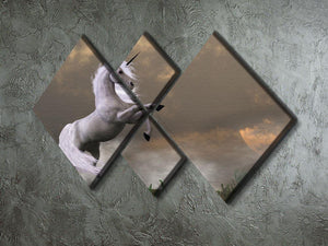 A unicorn stag asserts its power 4 Square Multi Panel Canvas  - Canvas Art Rocks - 2