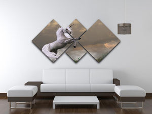 A unicorn stag asserts its power 4 Square Multi Panel Canvas  - Canvas Art Rocks - 3