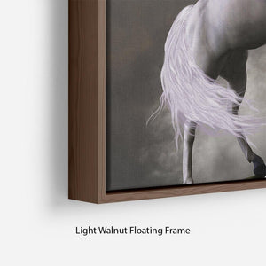 A unicorn stag asserts its power Floating Frame Canvas