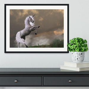 A unicorn stag asserts its power Framed Print - Canvas Art Rocks - 1