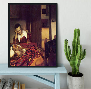 A woman asleep by Vermeer Framed Print - Canvas Art Rocks - 2