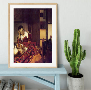 A woman asleep by Vermeer Framed Print - Canvas Art Rocks - 3