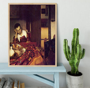 A woman asleep by Vermeer Framed Print - Canvas Art Rocks - 4