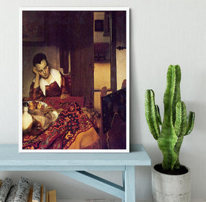 A woman asleep by Vermeer Framed Print - Canvas Art Rocks -6