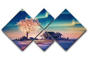 Abandoned house and fantasy tree 4 Square Multi Panel Canvas  - Canvas Art Rocks - 1