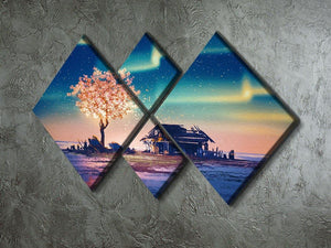 Abandoned house and fantasy tree 4 Square Multi Panel Canvas  - Canvas Art Rocks - 2