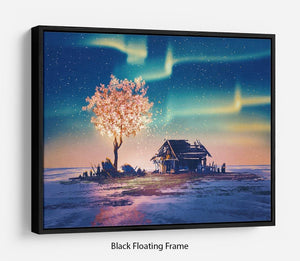 Abandoned house and fantasy tree Floating Frame Canvas