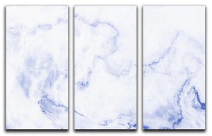 Abstract blue marble patterned 3 Split Panel Canvas Print - Canvas Art Rocks - 1