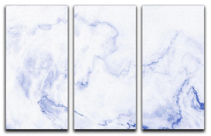 Abstract blue marble patterned 3 Split Panel Canvas Print