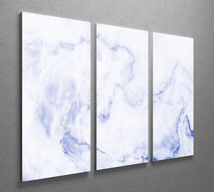 Abstract blue marble patterned 3 Split Panel Canvas Print - Canvas Art Rocks - 2