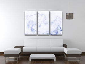 Abstract blue marble patterned 3 Split Panel Canvas Print - Canvas Art Rocks - 3