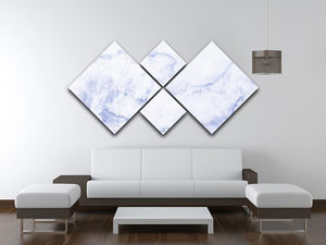 Abstract blue marble patterned 4 Square Multi Panel Canvas  - Canvas Art Rocks - 3