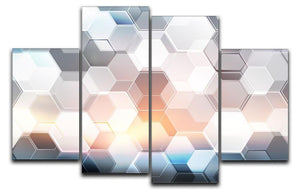 Abstract modern tech hexagon 4 Split Panel Canvas  - Canvas Art Rocks - 1