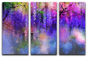 Abstract violet red and yellow color flowers 3 Split Panel Canvas Print - Canvas Art Rocks - 1