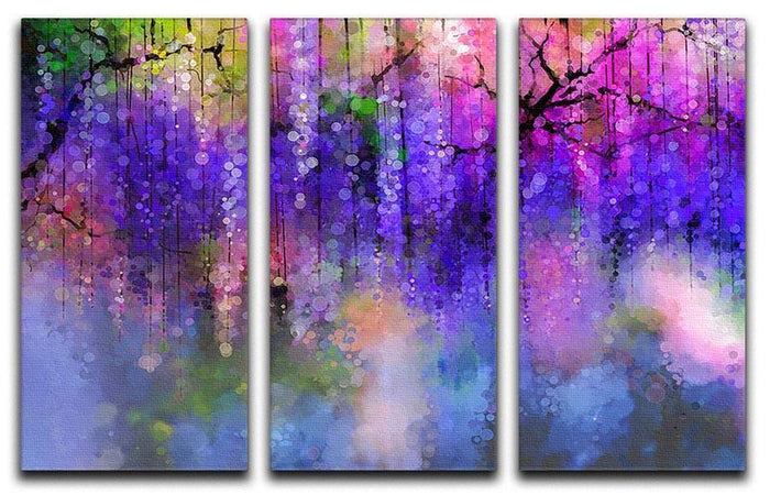 Abstract violet red and yellow color flowers 3 Split Panel Canvas Print