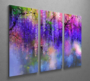 Abstract violet red and yellow color flowers 3 Split Panel Canvas Print - Canvas Art Rocks - 2