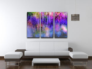 Abstract violet red and yellow color flowers 3 Split Panel Canvas Print - Canvas Art Rocks - 3