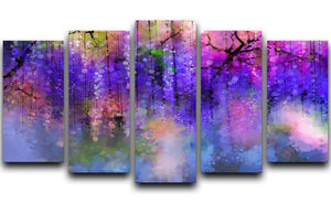 Abstract violet red and yellow color flowers 5 Split Panel Canvas  - Canvas Art Rocks - 1