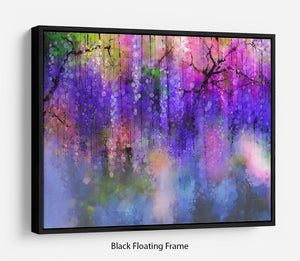Abstract violet red and yellow color flowers Floating Frame Canvas