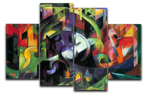 Abstract with cattle by Franz Marc 4 Split Panel Canvas  - Canvas Art Rocks - 1