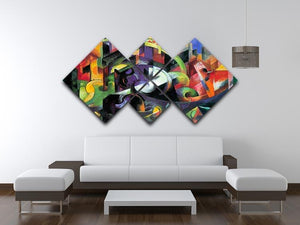 Abstract with cattle by Franz Marc 4 Square Multi Panel Canvas - Canvas Art Rocks - 3