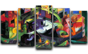 Abstract with cattle by Franz Marc 5 Split Panel Canvas  - Canvas Art Rocks - 1