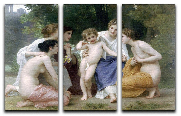 Admiration By Bouguereau 3 Split Panel Canvas Print