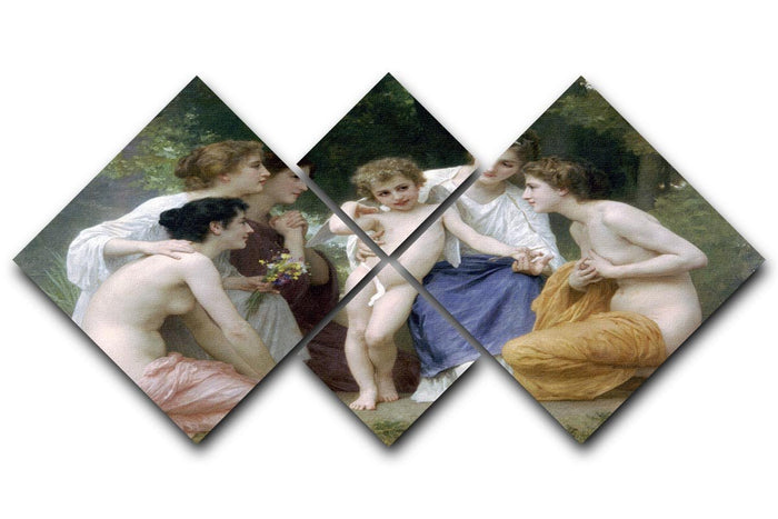 Admiration By Bouguereau 4 Square Multi Panel Canvas