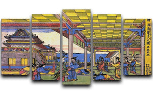 Advent of Urashima at the Dragon palace by Hokusai 5 Split Panel Canvas  - Canvas Art Rocks - 1