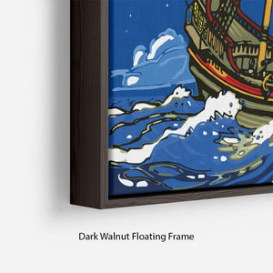 Adventure Time Pirate Ship Sailing Floating Frame Canvas