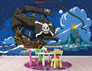 Adventure Time Pirate Ship Sailing Wall Mural Wallpaper - Canvas Art Rocks - 2
