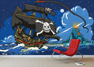 Adventure Time Pirate Ship Sailing Wall Mural Wallpaper - Canvas Art Rocks - 3