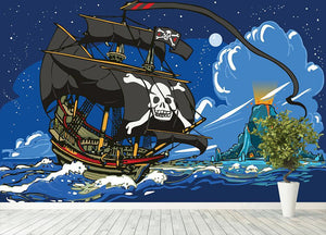 Adventure Time Pirate Ship Sailing Wall Mural Wallpaper - Canvas Art Rocks - 4