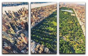 Aerial view looking north up Central Park 3 Split Panel Canvas Print - Canvas Art Rocks - 1