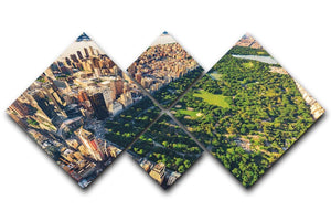 Aerial view looking north up Central Park 4 Square Multi Panel Canvas  - Canvas Art Rocks - 1