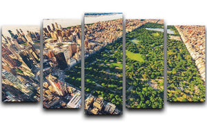 Aerial view looking north up Central Park 5 Split Panel Canvas  - Canvas Art Rocks - 1
