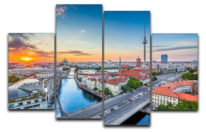Aerial view of Berlin skyline 4 Split Panel Canvas