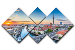 Aerial view of Berlin skyline 4 Square Multi Panel Canvas  - Canvas Art Rocks - 1