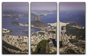 Aerial view of Christ and Botafogo Bay 3 Split Panel Canvas Print - Canvas Art Rocks - 1