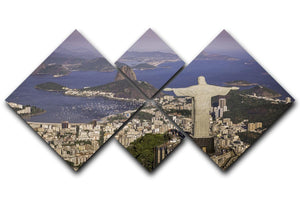 Aerial view of Christ and Botafogo Bay 4 Square Multi Panel Canvas  - Canvas Art Rocks - 1